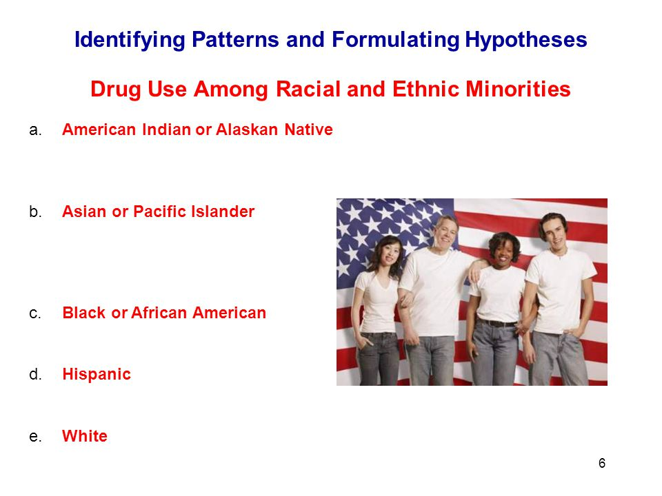 6 Drug Use Among Racial and Ethnic Minorities a.American Indian or Alaskan Native - A person having origins in any of the original peoples of North and South America, who maintains cultural identification through tribal affiliations or community recognition.