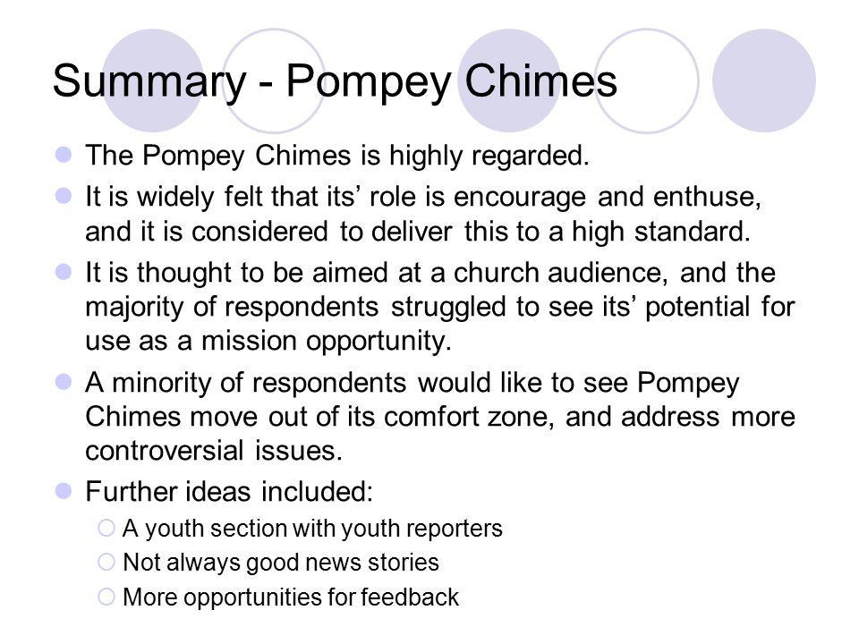Summary - Pompey Chimes The Pompey Chimes is highly regarded.