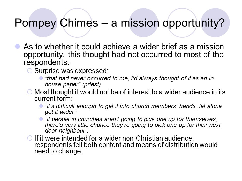 Pompey Chimes – a mission opportunity.