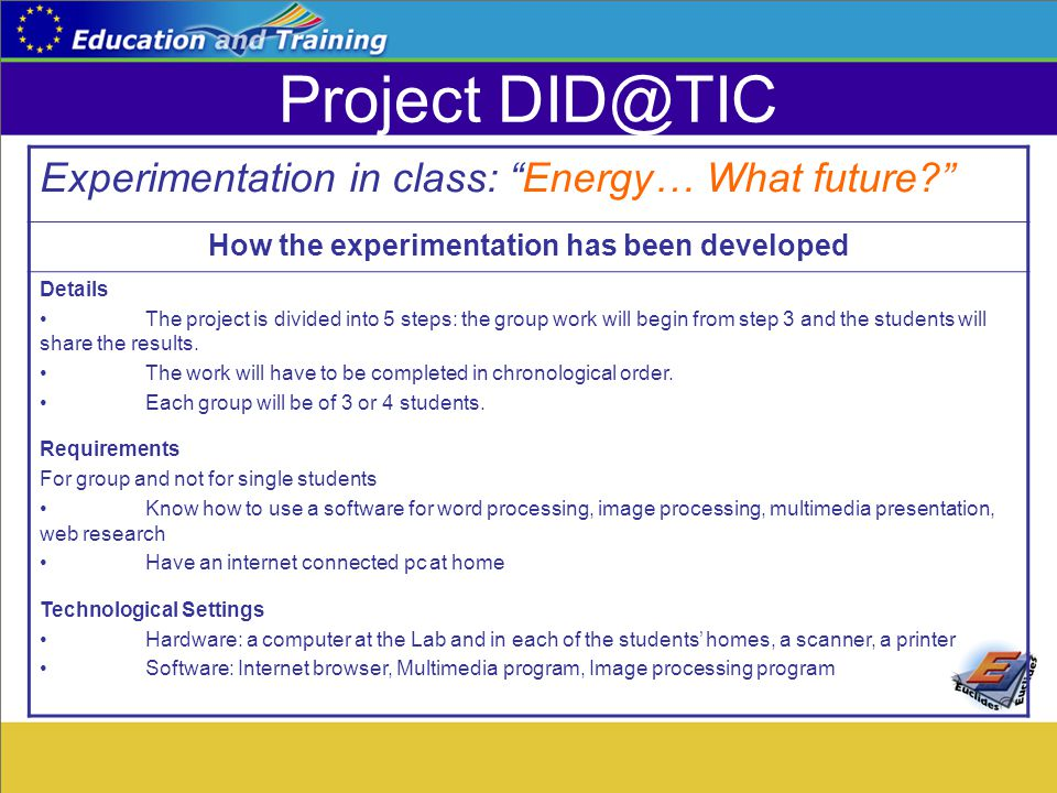 "Project DID@TIC Experimentation in class: ""Energy… What future?"" How the experimentation has been developed Details The project is divided into 5 step"