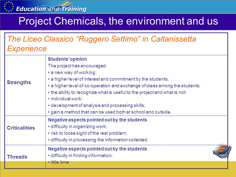 "Project Chemicals, the environment and us The Liceo Classico ""Ruggero Settimo"" in Caltanissetta Experience Strengths Students' opinion The project has"