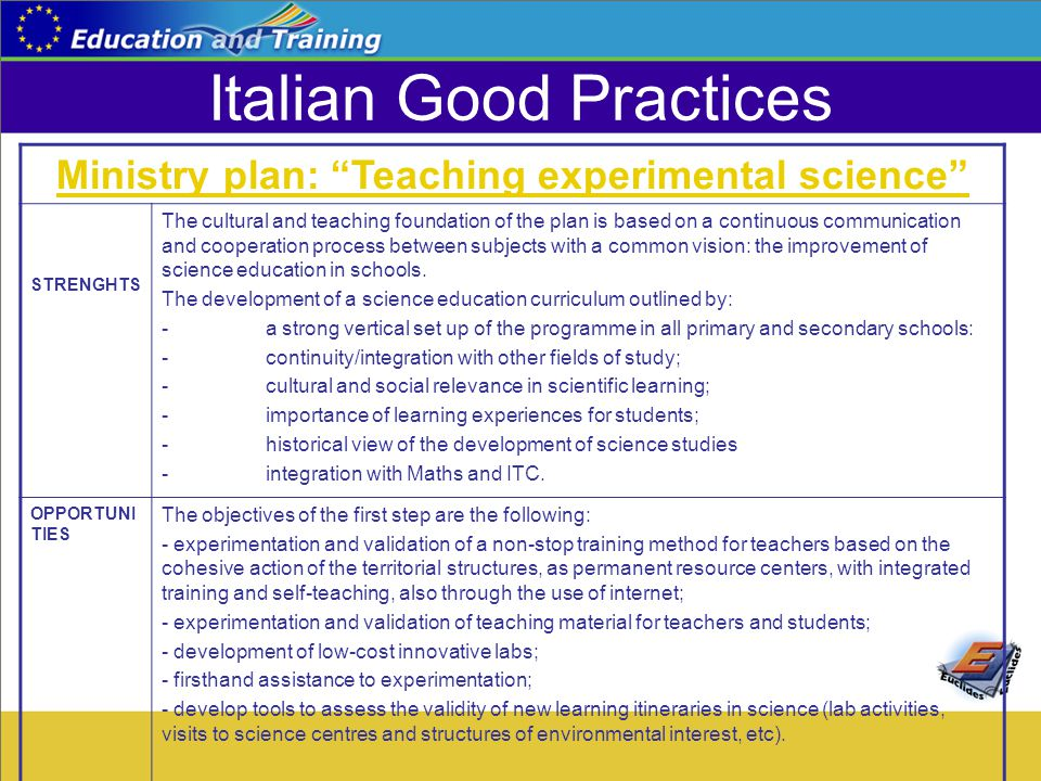 "Italian Good Practices Ministry plan: ""Teaching experimental science"" STRENGHTS The cultural and teaching foundation of the plan is based on a continu"