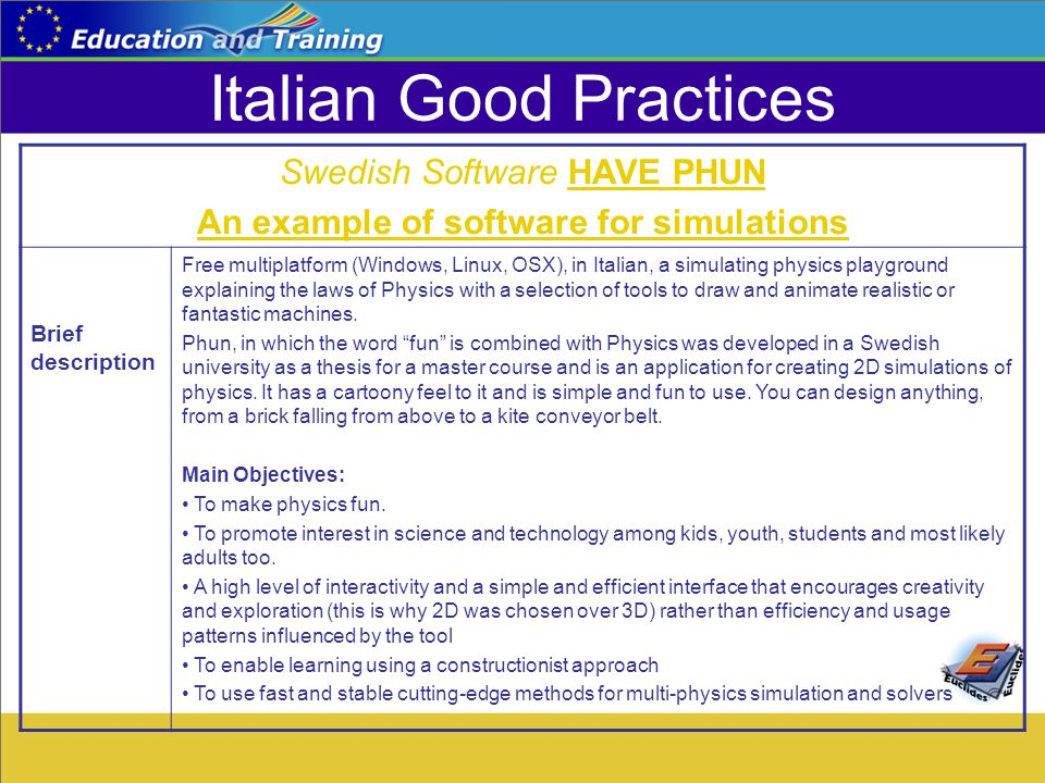 Italian Good Practices Swedish Software HAVE PHUN An example of software for simulations Brief description Free multiplatform (Windows, Linux, OSX), in Italian, a simulating physics playground explaining the laws of Physics with a selection of tools to draw and animate realistic or fantastic machines.