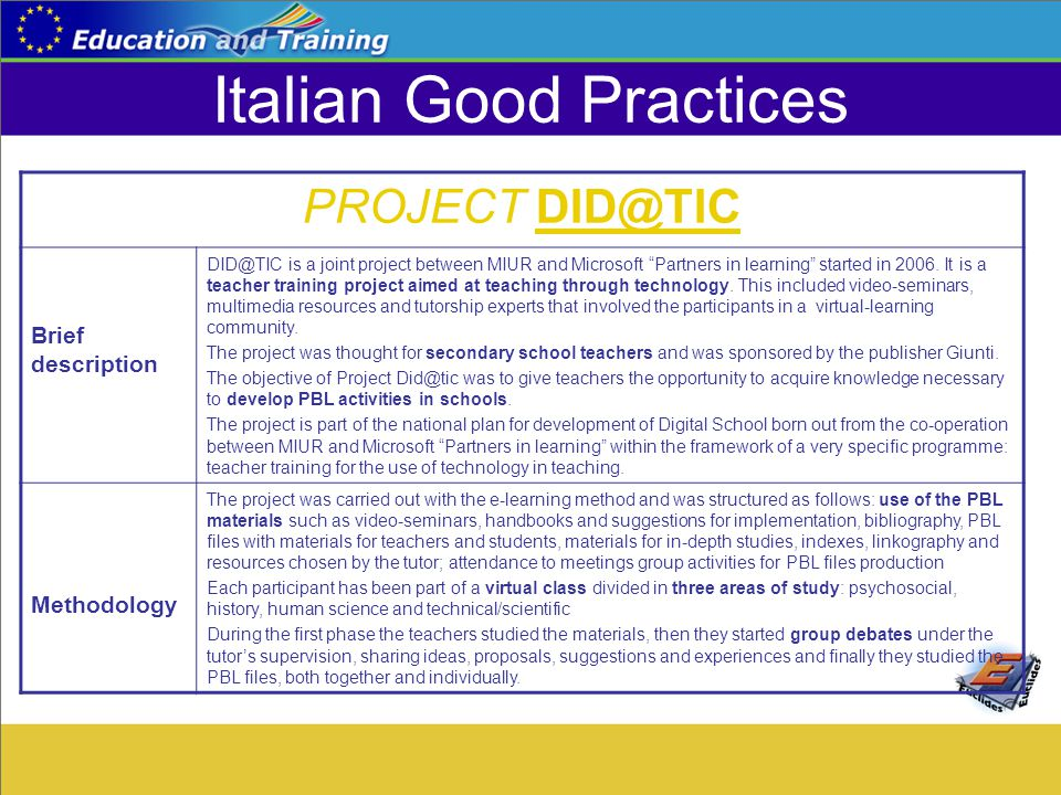 "Italian Good Practices PROJECT DID@TIC Brief description DID@TIC is a joint project between MIUR and Microsoft ""Partners in learning"" started in 2006."