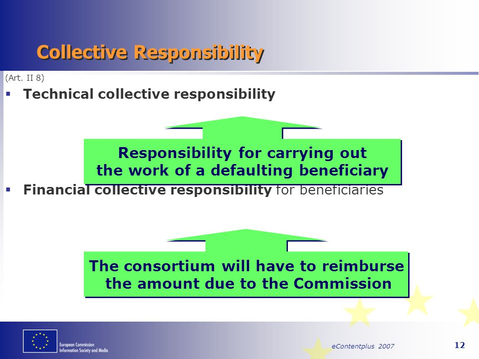 eContentplus 2007 12 (Art. II 8)  Technical collective responsibility  Financial collective responsibility for beneficiaries Collective Responsibili