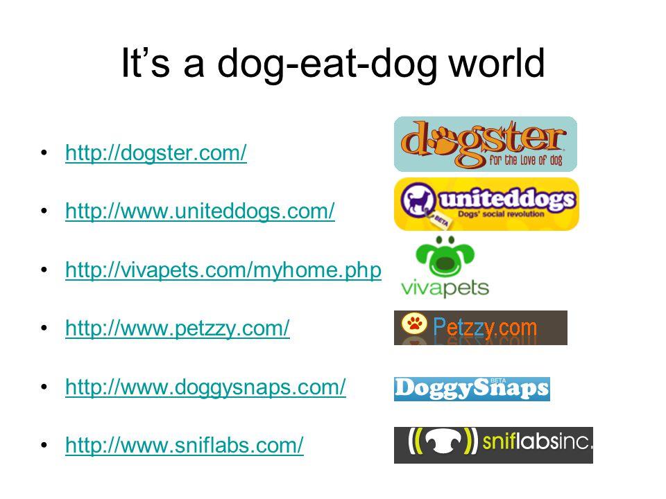 It's a dog-eat-dog world http://dogster.com/ http://www.uniteddogs.com/ http://vivapets.com/myhome.php http://www.petzzy.com/ http://www.doggysnaps.com/ http://www.sniflabs.com/