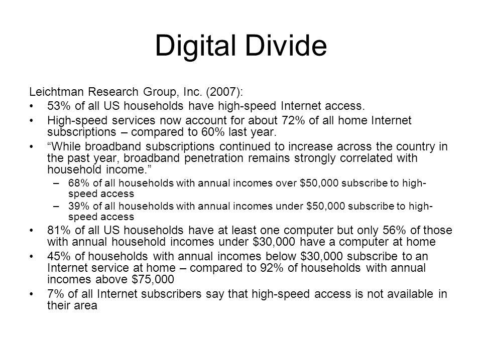 Digital Divide Leichtman Research Group, Inc.