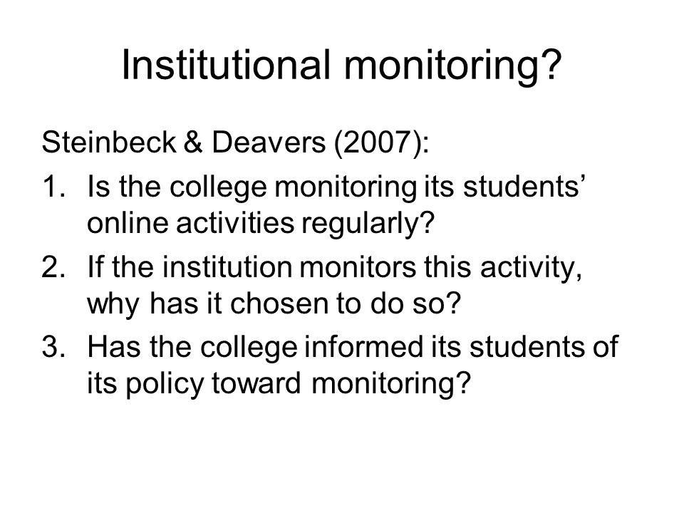 Institutional monitoring.