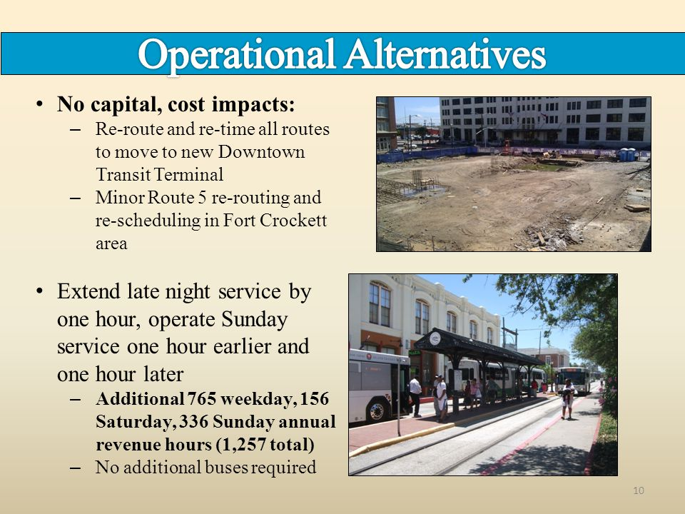 10 No capital, cost impacts: – Re-route and re-time all routes to move to new Downtown Transit Terminal – Minor Route 5 re-routing and re-scheduling i