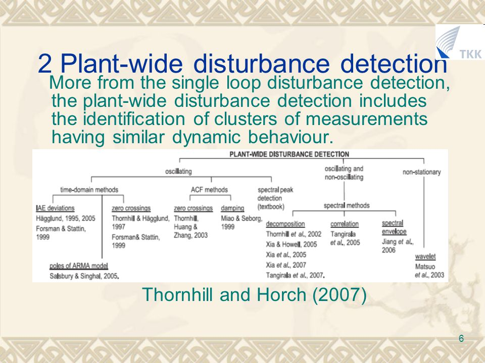 6 2 Plant-wide disturbance detection More from the single loop disturbance detection, the plant-wide disturbance detection includes the identification of clusters of measurements having similar dynamic behaviour.