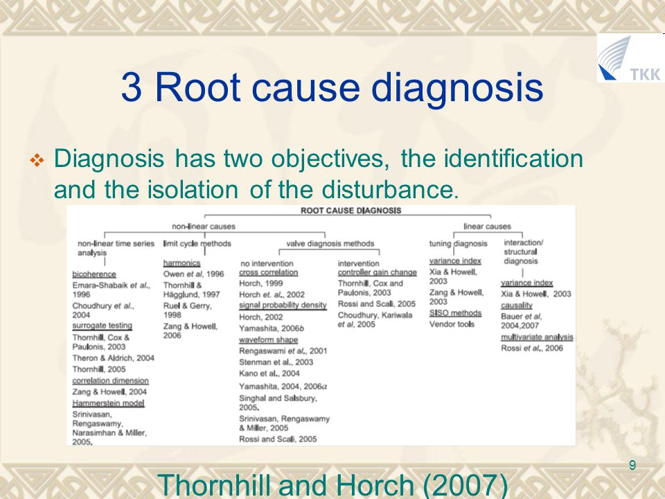 9 3 Root cause diagnosis  Diagnosis has two objectives, the identification and the isolation of the disturbance.