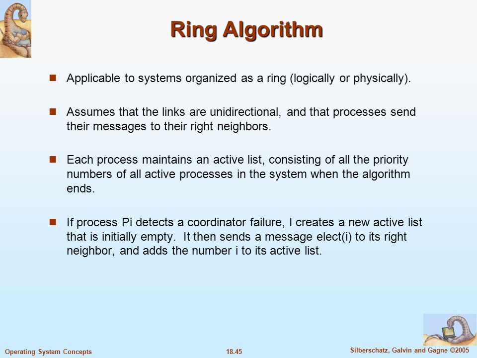 18.45 Silberschatz, Galvin and Gagne ©2005 Operating System Concepts Ring Algorithm Applicable to systems organized as a ring (logically or physically).