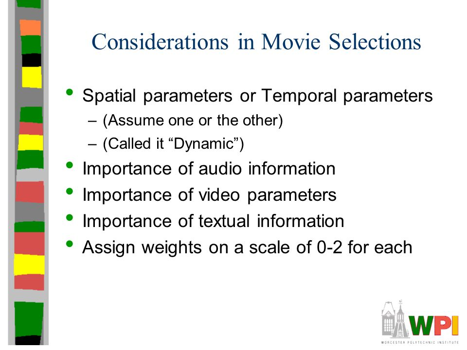 "Considerations in Movie Selections Spatial parameters or Temporal parameters –(Assume one or the other) –(Called it ""Dynamic"") Importance of audio inf"