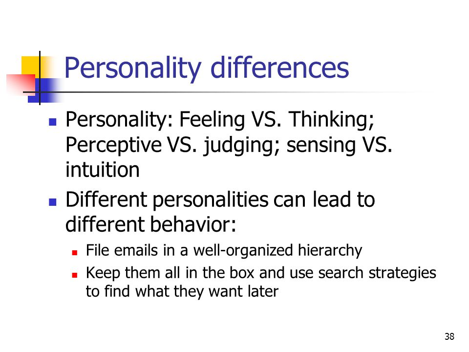 38 Personality differences Personality: Feeling VS.
