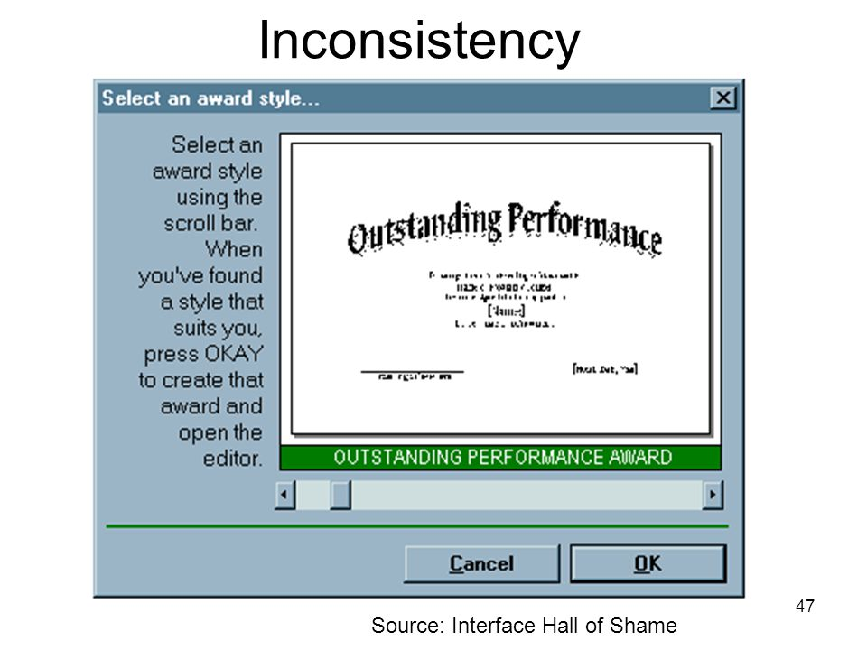 47 Inconsistency Source: Interface Hall of Shame