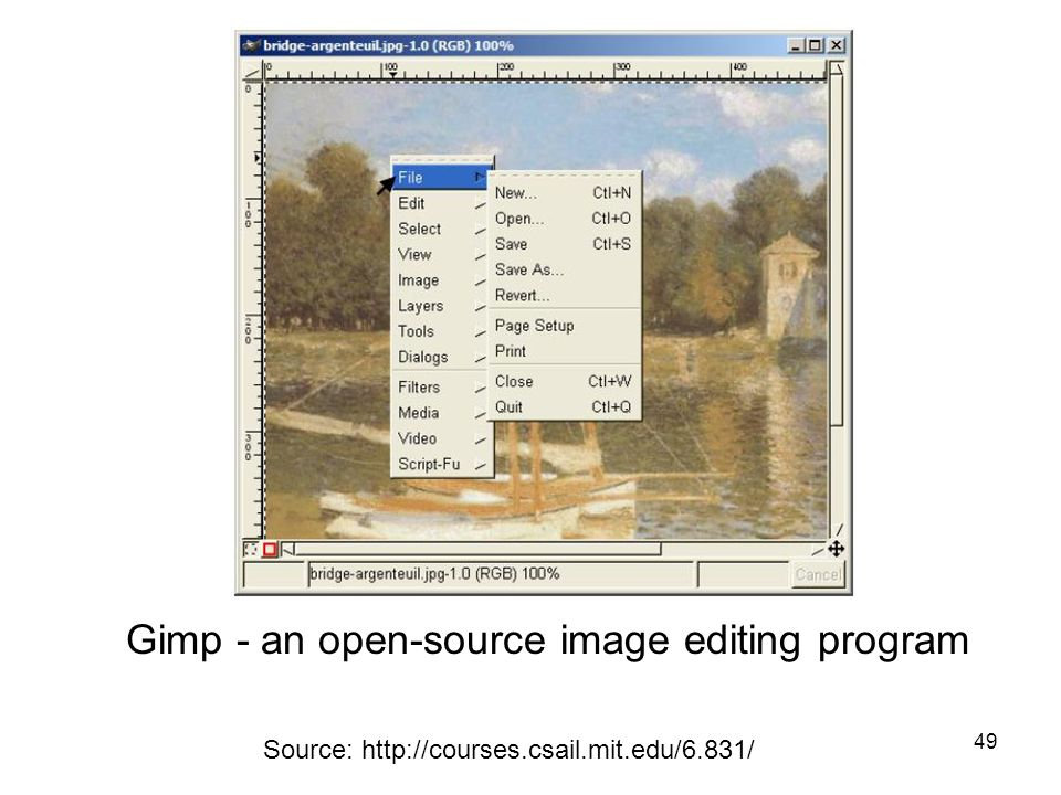 49 Source: http://courses.csail.mit.edu/6.831/ Gimp - an open-source image editing program