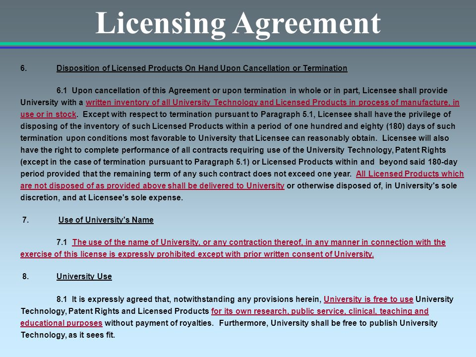 Licensing Agreement 6.