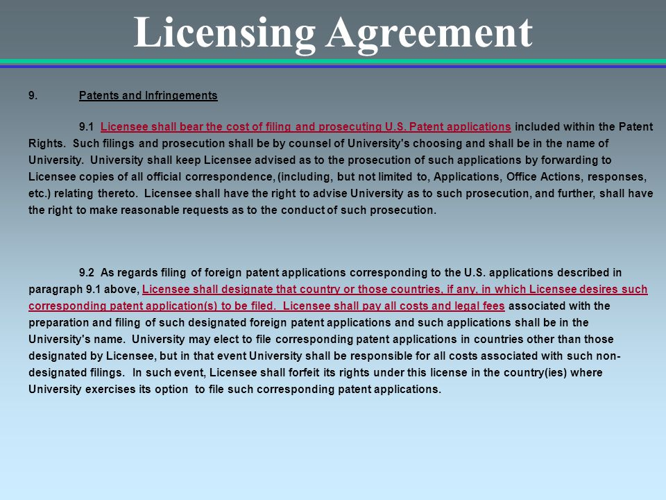 Licensing Agreement 9.