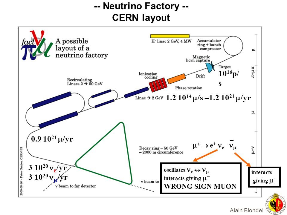 Alain Blondel -- Neutrino Factory -- CERN layout    e + e   _ interacts giving   oscillates e     interacts giving    WRONG SIGN MUO