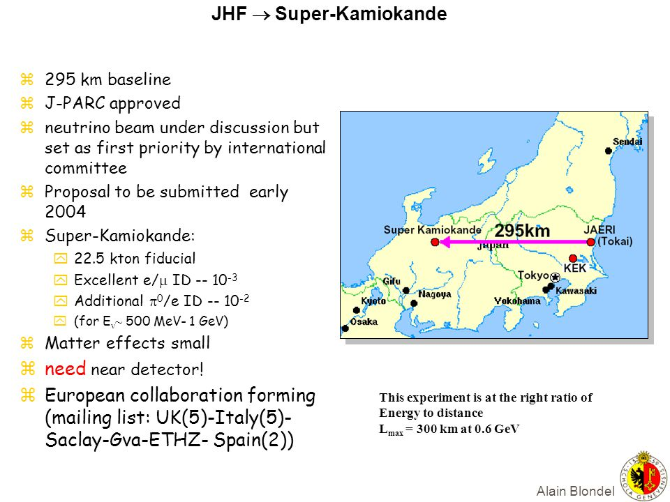 Alain Blondel JHF  Super-Kamiokande z295 km baseline zJ-PARC approved zneutrino beam under discussion but set as first priority by international committee zProposal to be submitted early 2004 zSuper-Kamiokande: y22.5 kton fiducial yExcellent e/  ID -- 10 -3 yAdditional  0 /e ID -- 10 -2  (for E ~ 500 MeV- 1 GeV) zMatter effects small zneed near detector.