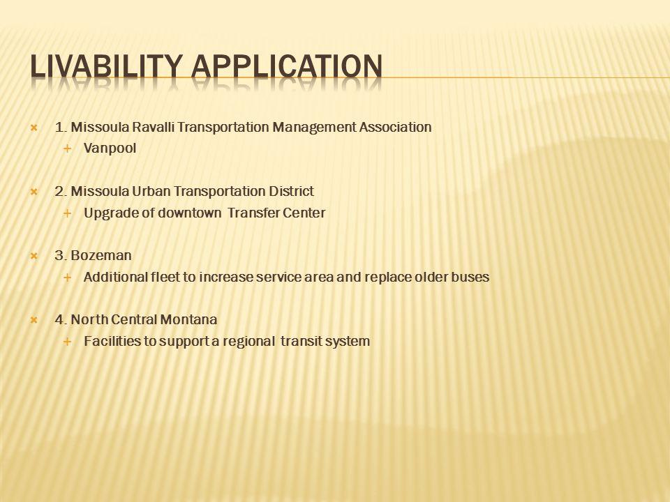  1. Missoula Ravalli Transportation Management Association  Vanpool  2.