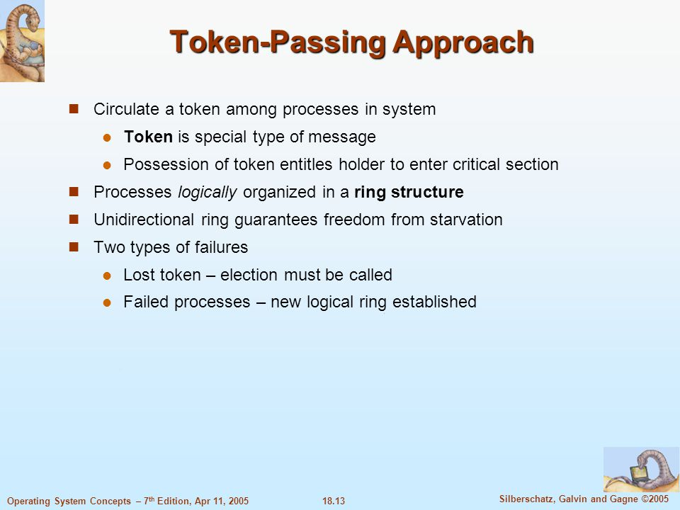 18.13 Silberschatz, Galvin and Gagne ©2005 Operating System Concepts – 7 th Edition, Apr 11, 2005 Token-Passing Approach Circulate a token among proce