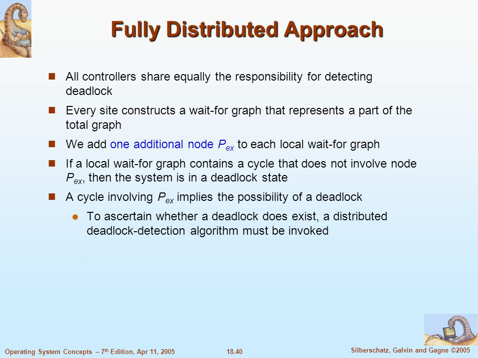 18.40 Silberschatz, Galvin and Gagne ©2005 Operating System Concepts – 7 th Edition, Apr 11, 2005 Fully Distributed Approach All controllers share equ