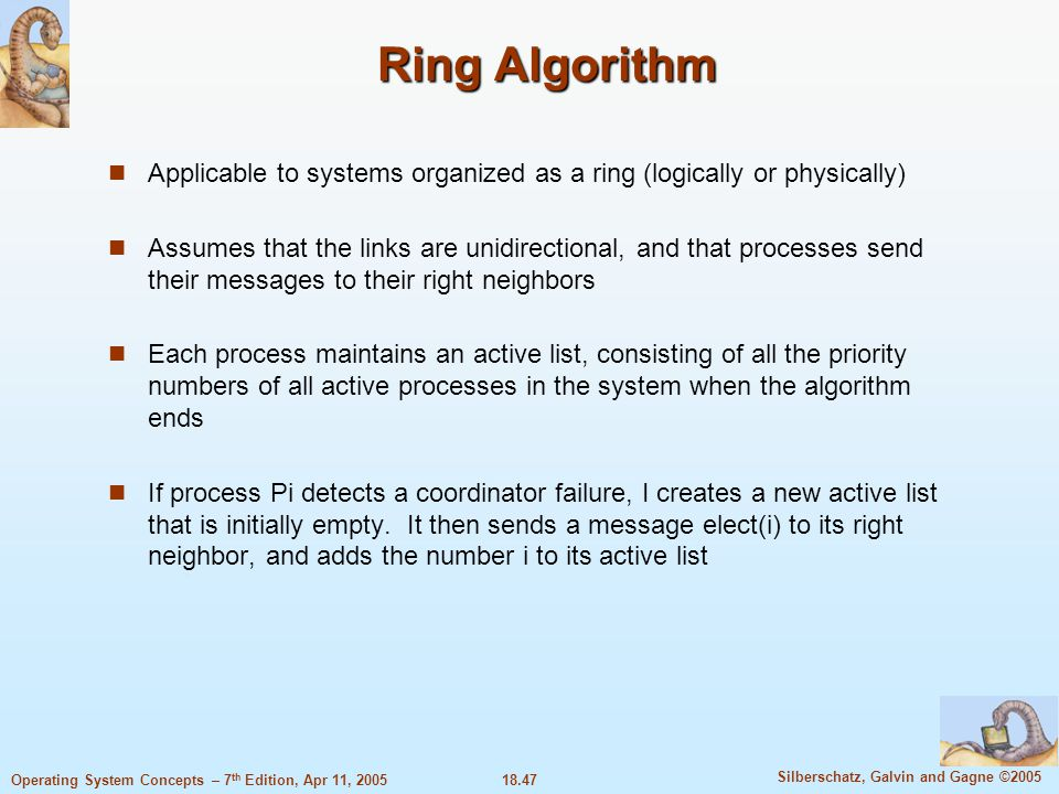 18.47 Silberschatz, Galvin and Gagne ©2005 Operating System Concepts – 7 th Edition, Apr 11, 2005 Ring Algorithm Applicable to systems organized as a
