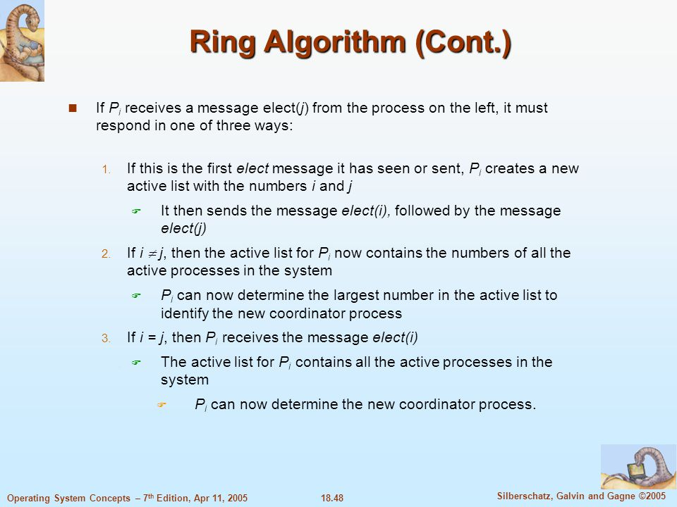 18.48 Silberschatz, Galvin and Gagne ©2005 Operating System Concepts – 7 th Edition, Apr 11, 2005 Ring Algorithm (Cont.) If P i receives a message ele