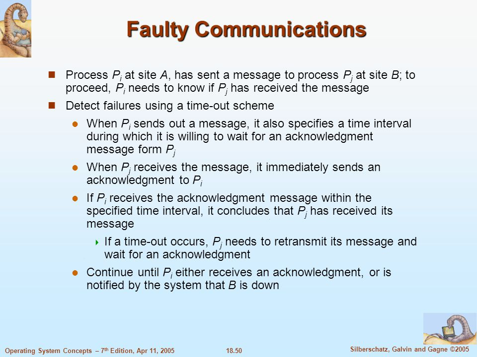 18.50 Silberschatz, Galvin and Gagne ©2005 Operating System Concepts – 7 th Edition, Apr 11, 2005 Faulty Communications Process P i at site A, has sen