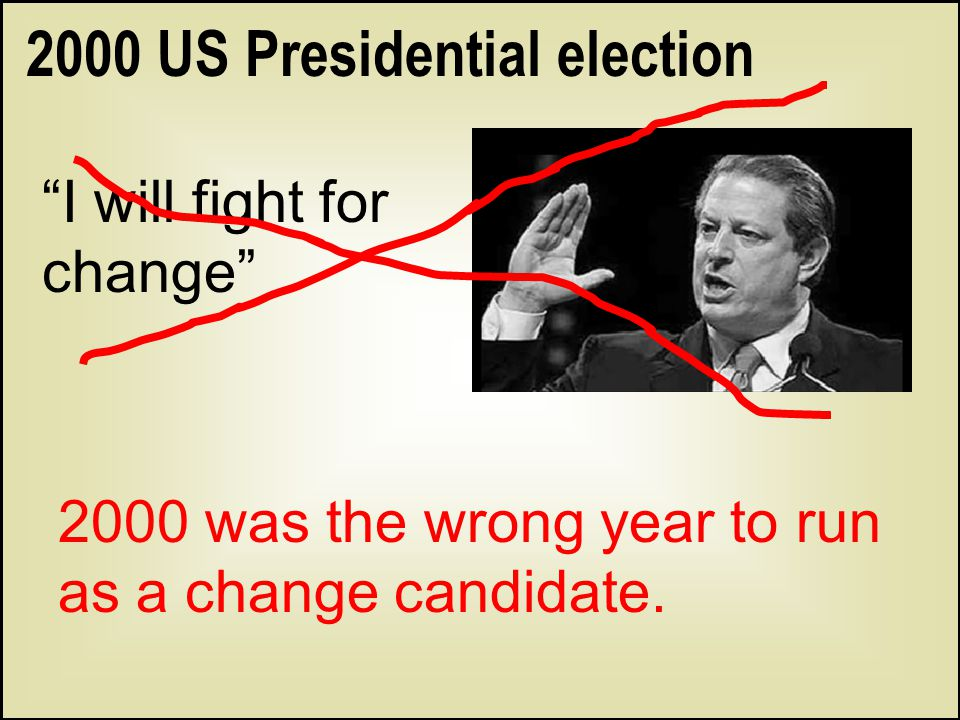 """2000 US Presidential election """"I will fight for change"""" 2000 was the wrong year to run as a change candidate."""