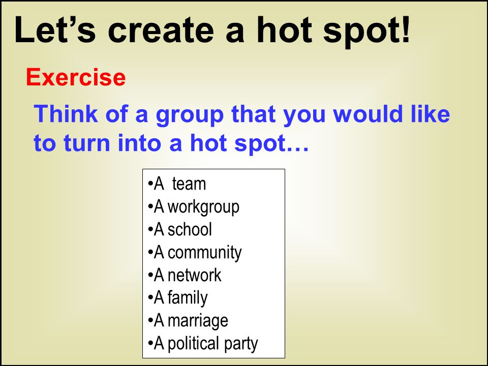Let's create a hot spot! A team A workgroup A school A community A network A family A marriage A political party Think of a group that you would like