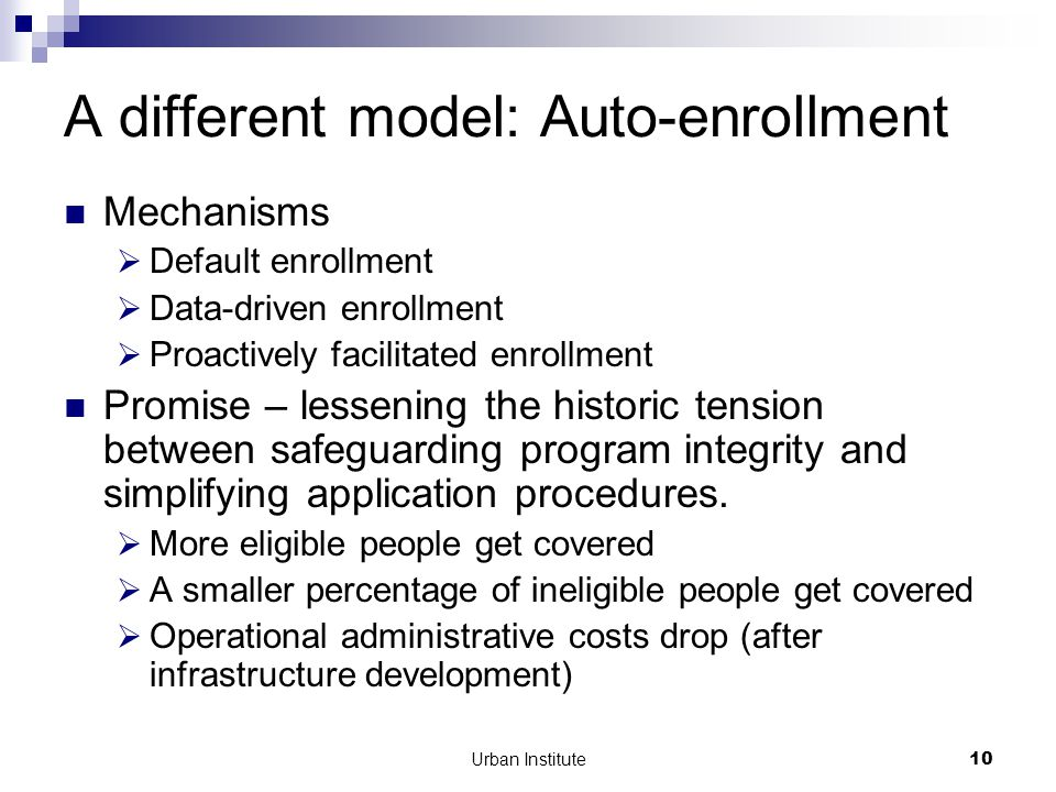 Urban Institute10 A different model: Auto-enrollment Mechanisms  Default enrollment  Data-driven enrollment  Proactively facilitated enrollment Promise – lessening the historic tension between safeguarding program integrity and simplifying application procedures.
