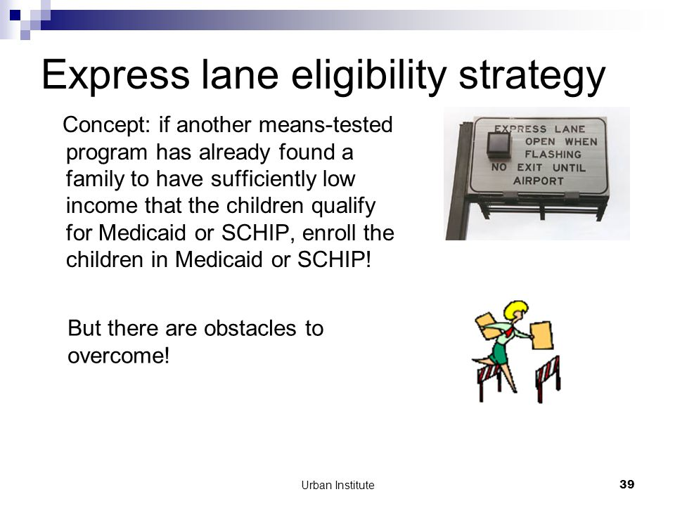 Urban Institute39 Express lane eligibility strategy Concept: if another means-tested program has already found a family to have sufficiently low income that the children qualify for Medicaid or SCHIP, enroll the children in Medicaid or SCHIP.