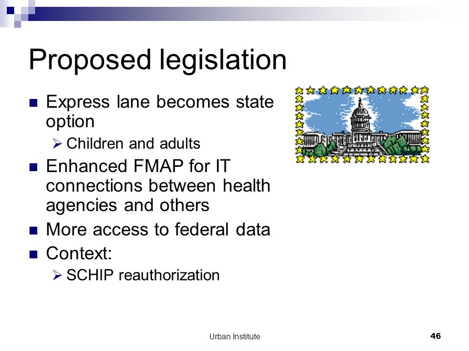 Urban Institute46 Proposed legislation Express lane becomes state option  Children and adults Enhanced FMAP for IT connections between health agencies and others More access to federal data Context:  SCHIP reauthorization