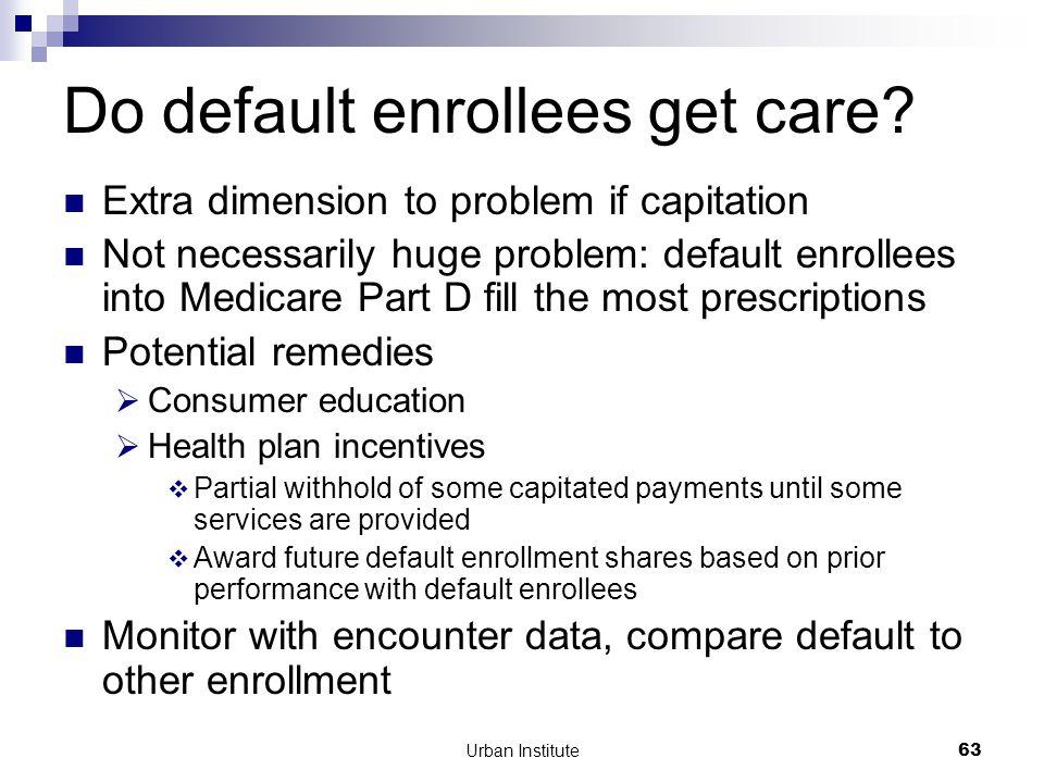Urban Institute63 Do default enrollees get care.