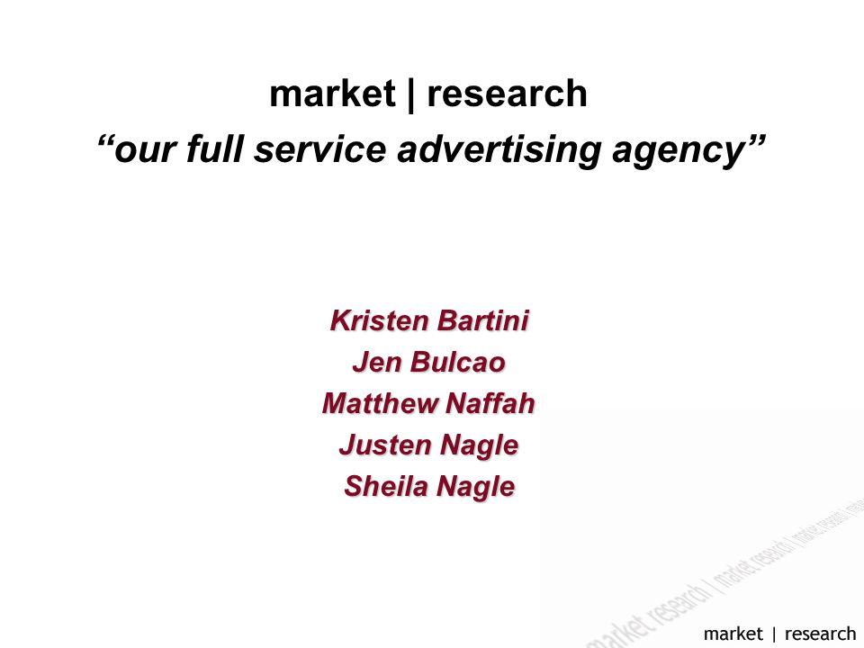 market | research our full service advertising agency Kristen Bartini Jen Bulcao Matthew Naffah Justen Nagle Sheila Nagle