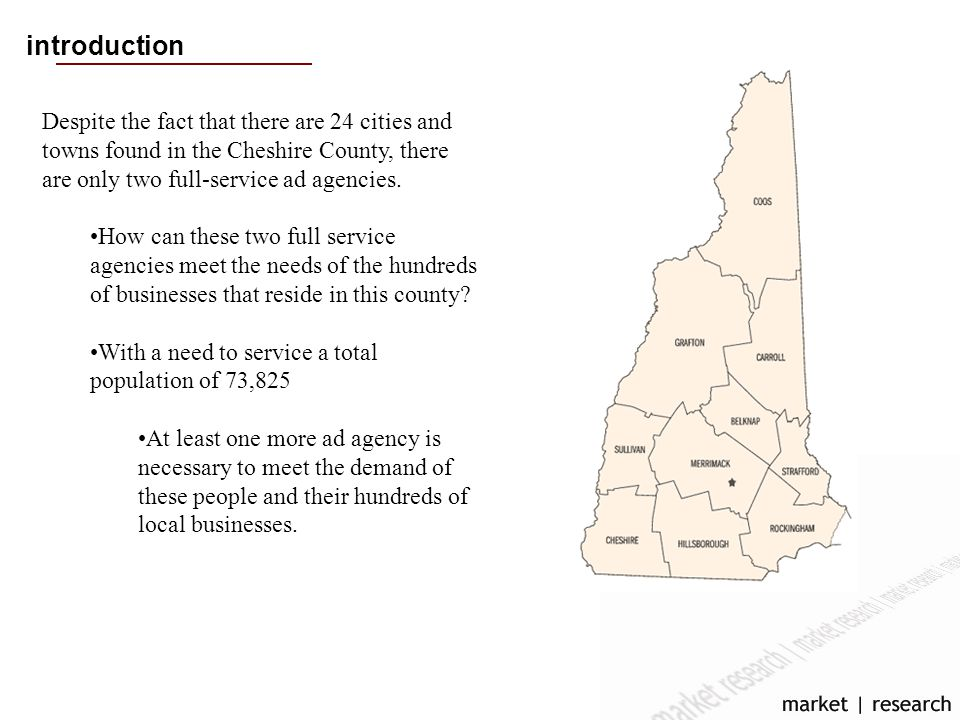 introduction Despite the fact that there are 24 cities and towns found in the Cheshire County, there are only two full-service ad agencies.