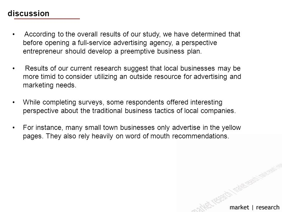 discussion According to the overall results of our study, we have determined that before opening a full-service advertising agency, a perspective entrepreneur should develop a preemptive business plan.