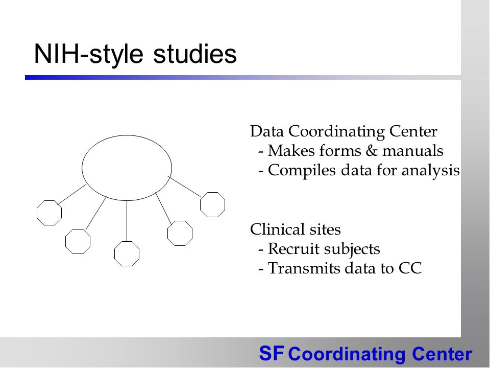 SF Coordinating Center NIH-style studies Data Coordinating Center - Makes forms & manuals - Compiles data for analysis Clinical sites - Recruit subjects - Transmits data to CC
