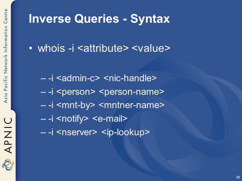 29 Inverse Queries - Syntax whois -i –-i