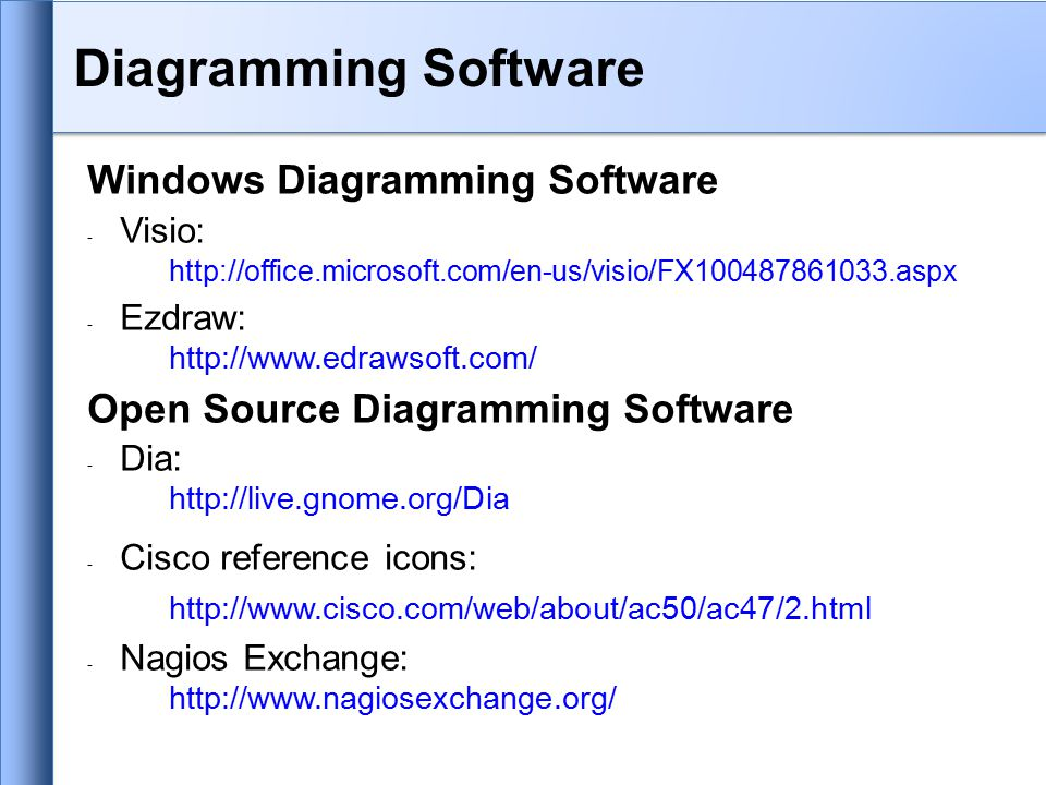 Windows Diagramming Software - Visio: http://office.microsoft.com/en-us/visio/FX100487861033.aspx - Ezdraw: http://www.edrawsoft.com/ Open Source Diagramming Software - Dia: http://live.gnome.org/Dia - Cisco reference icons: http://www.cisco.com/web/about/ac50/ac47/2.html - Nagios Exchange: http://www.nagiosexchange.org/ Diagramming Software