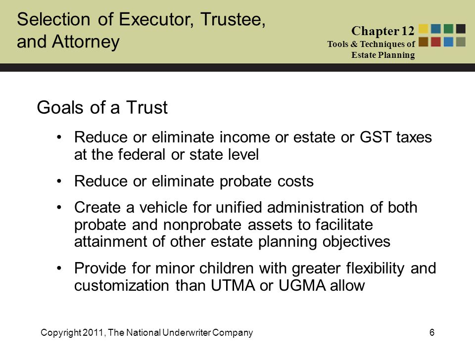 Selection of Executor, Trustee, and Attorney Chapter 12 Tools & Techniques of Estate Planning Copyright 2011, The National Underwriter Company27 4.Power to borrow trust income or principal without adequate interest or adequate security Grantor taxed on trust income Trust assets includible in grantor's gross estate Grantor as TrusteeYes, unless approval of adverse party needed Yes Person other than grantor as trustee No, if person can make loans to anyone No, unless grantor can substitute himself as trustee