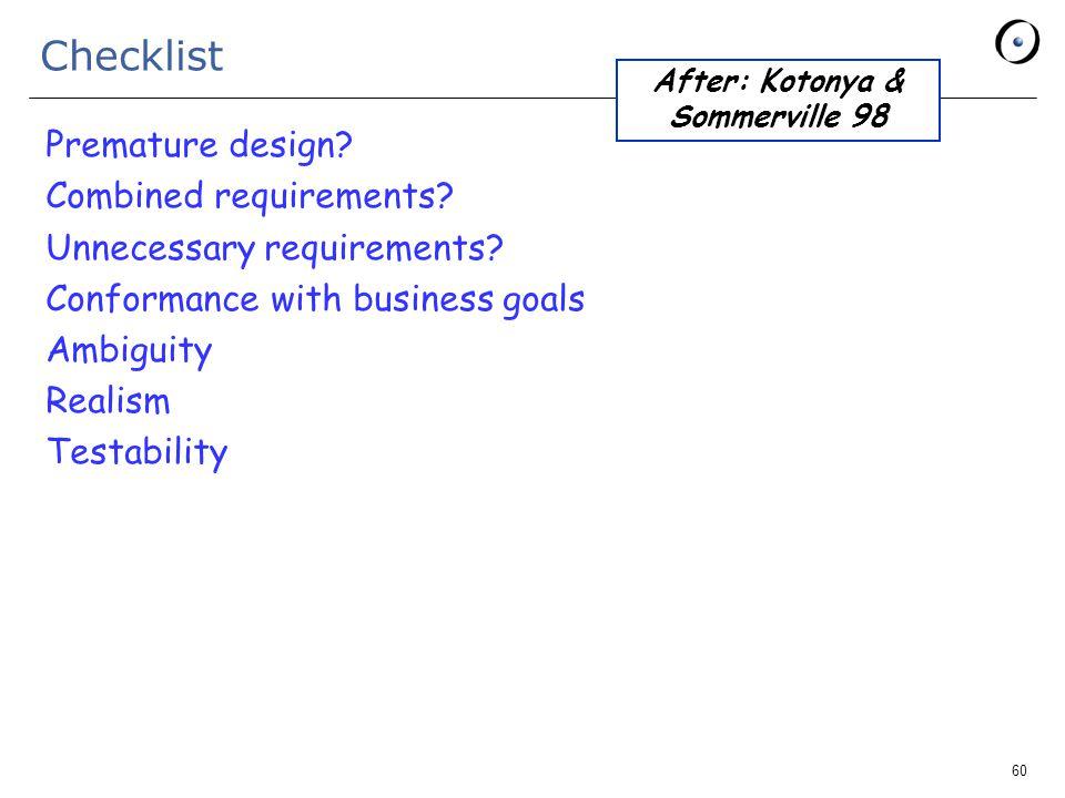 60 Checklist Premature design. Combined requirements.