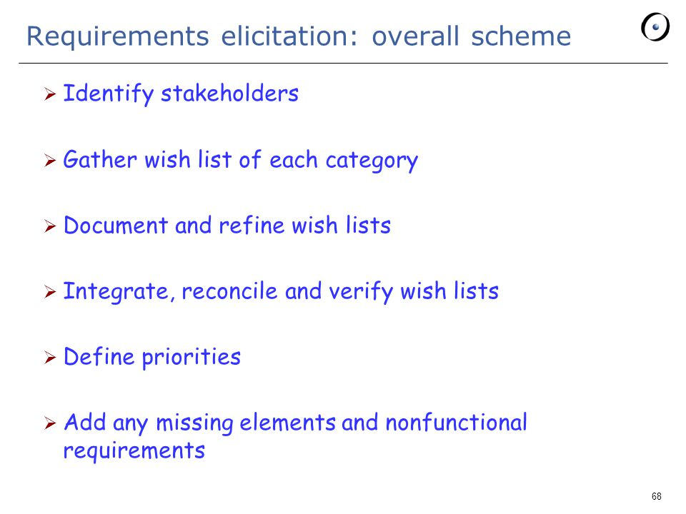 68 Requirements elicitation: overall scheme  Identify stakeholders  Gather wish list of each category  Document and refine wish lists  Integrate, reconcile and verify wish lists  Define priorities  Add any missing elements and nonfunctional requirements
