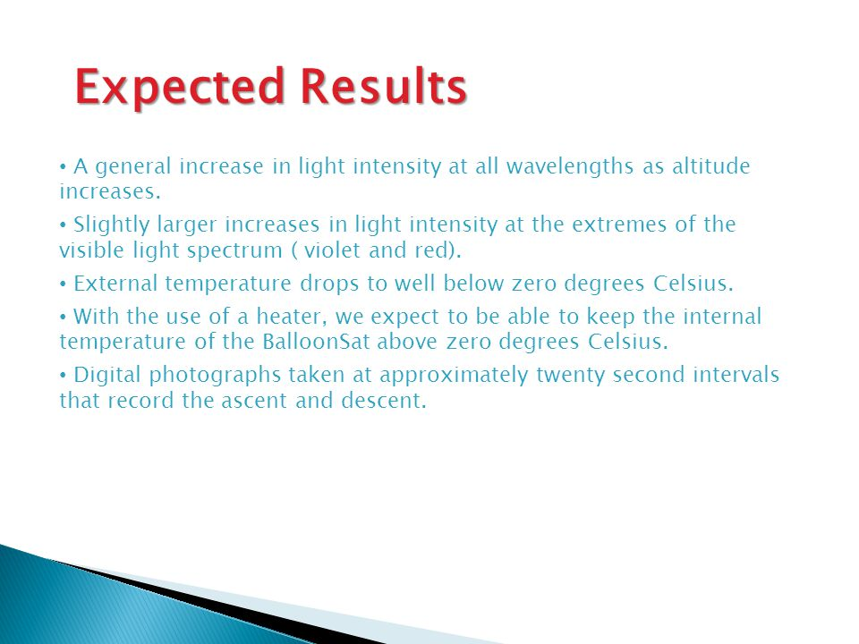 Expected Results A general increase in light intensity at all wavelengths as altitude increases.