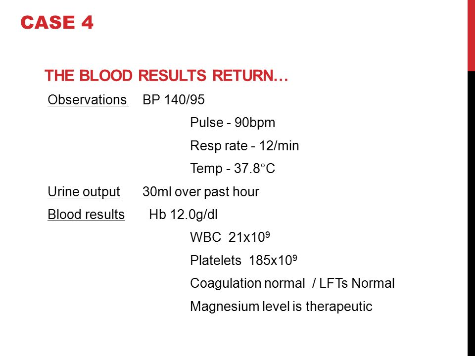 THE BLOOD RESULTS RETURN… Observations BP 140/95 Pulse - 90bpm Resp rate - 12/min Temp - 37.8°C Urine output 30ml over past hour Blood results Hb 12.0