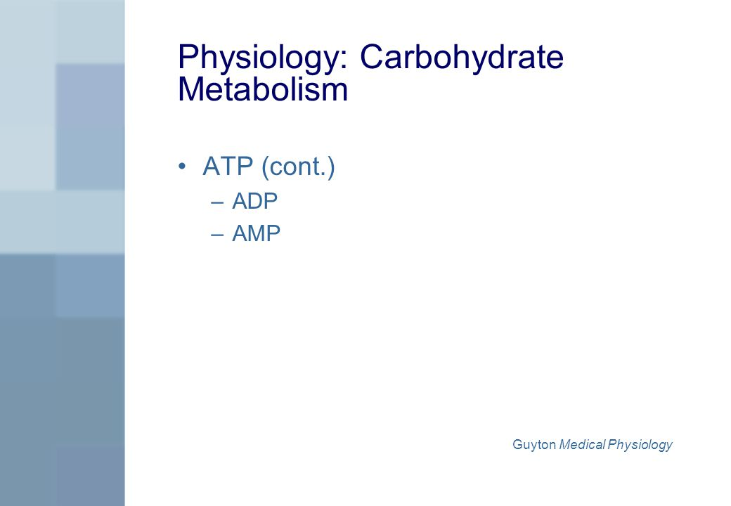 Physiology: Carbohydrate Metabolism ATP (cont.) –ADP –AMP Guyton Medical Physiology