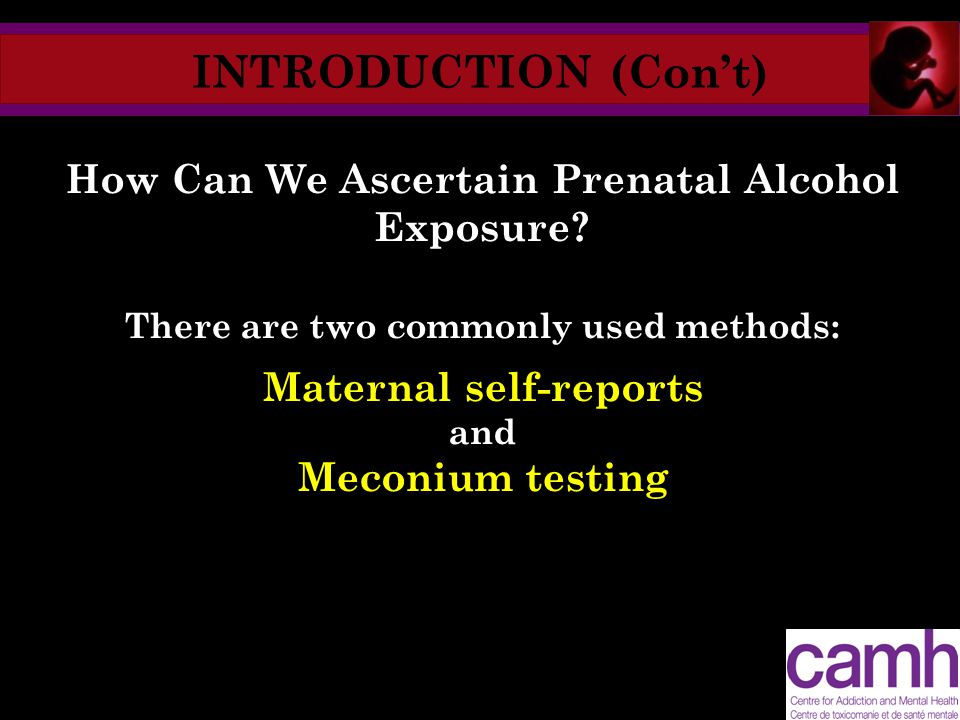 INTRODUCTION (Con't) How Can We Ascertain Prenatal Alcohol Exposure? There are two commonly used methods: Maternal self-reports and Meconium testing