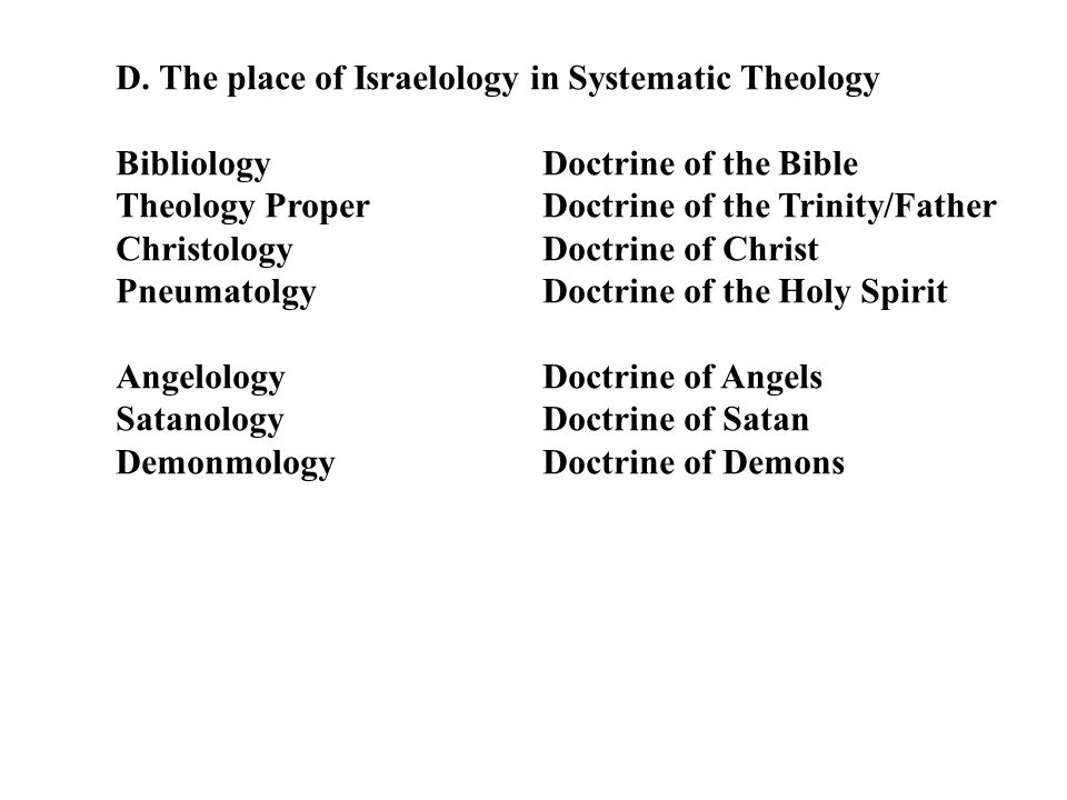 D. The place of Israelology in Systematic Theology BibliologyDoctrine of the Bible Theology Proper Doctrine of the Trinity/Father ChristologyDoctrine